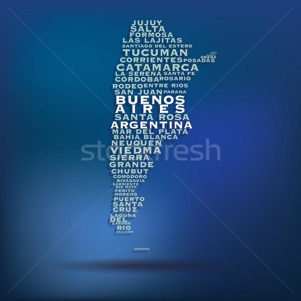 Argentína térkép név városok világ kék Stock fotó © ojal