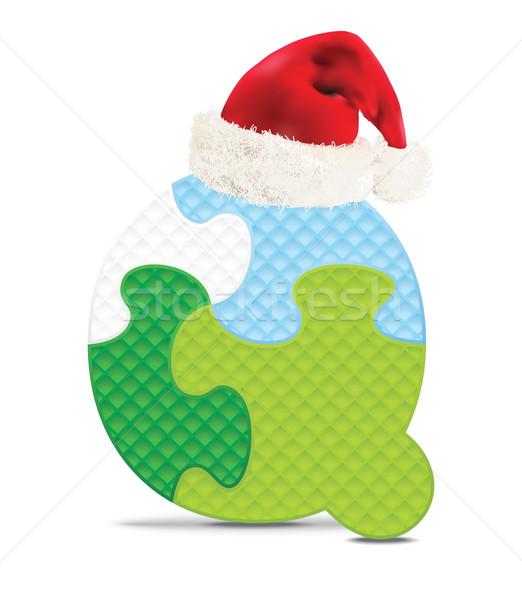 буква q написанный алфавит головоломки Рождества Hat Сток-фото © ojal