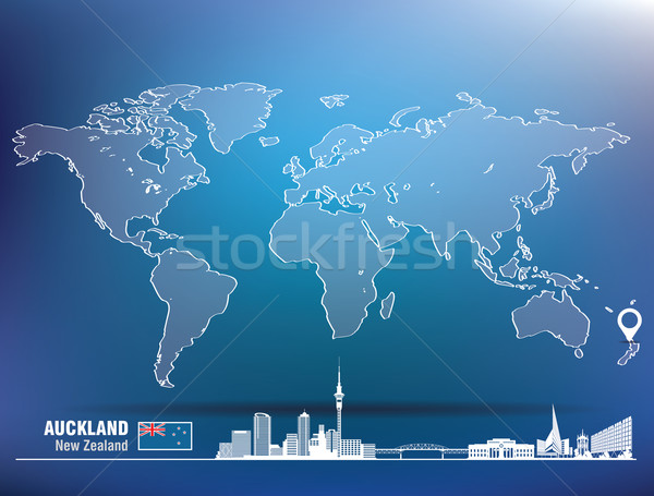 Map pin with Auckland skyline Stock photo © ojal