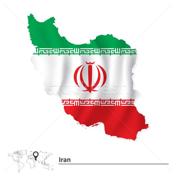 Térkép Irán zászló művészet zöld utazás Stock fotó © ojal