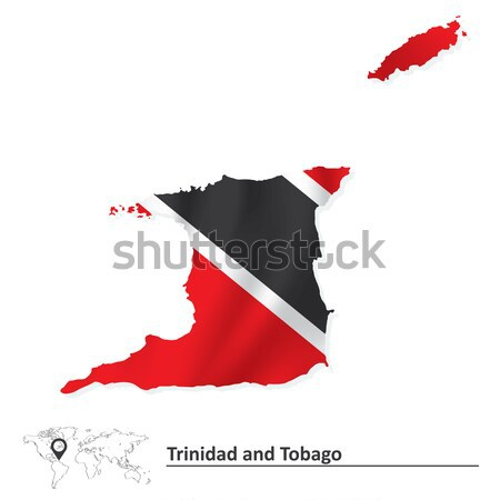 Map of Trinidad and Tobago with flag Stock photo © ojal