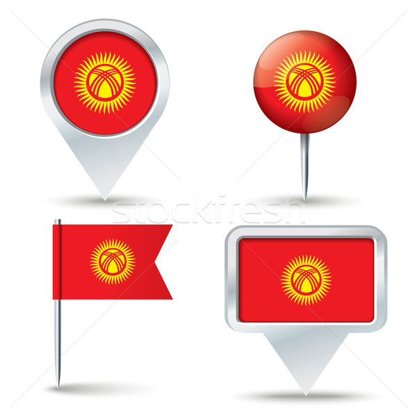 Kaart vlag Kirgizië business weg witte Stockfoto © ojal