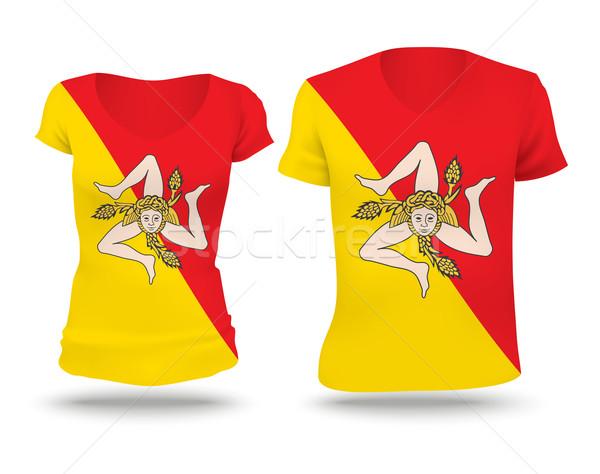 Bandera camisa diseno sicilia mujer hombre Foto stock © ojal