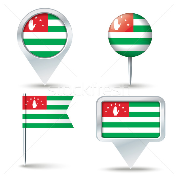 Map pins with flag of Abkhazia Stock photo © ojal