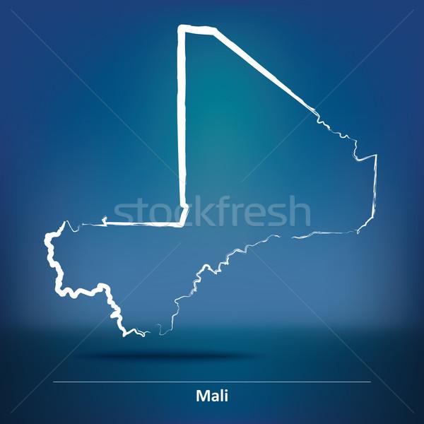 Stock photo: Doodle Map of Mali