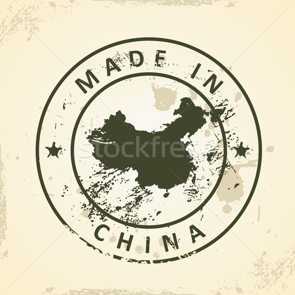 Stamp with map of China Stock photo © ojal
