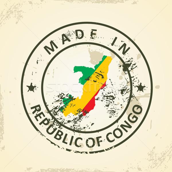 Sello mapa bandera república Congo grunge Foto stock © ojal