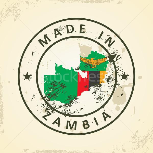 штампа карта флаг Замбия Гранж Мир Сток-фото © ojal
