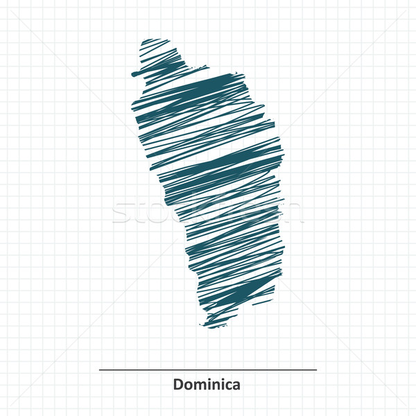 Doodle schets Dominica kaart textuur achtergrond Stockfoto © ojal