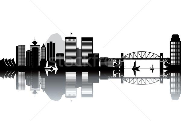 Vancouver ufuk çizgisi siyah beyaz manzara binalar kulüp Stok fotoğraf © ojal