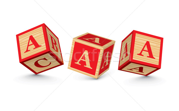 Vector letter A wooden alphabet blocks Stock photo © ojal