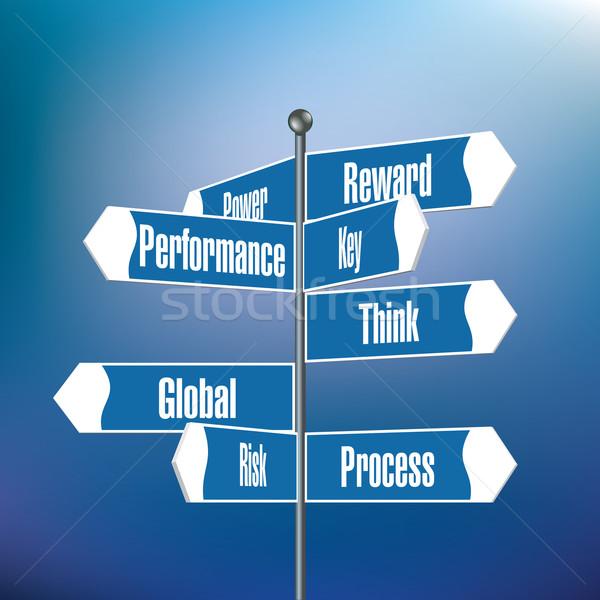 Stock fotó: útjelző · tábla · motivációs · szavak · út · utca · háttér