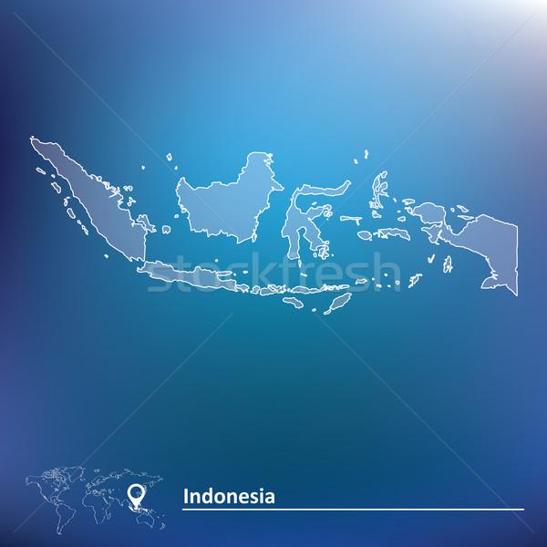 Mappa Indonesia viaggio silhouette digitale profilo Foto d'archivio © ojal