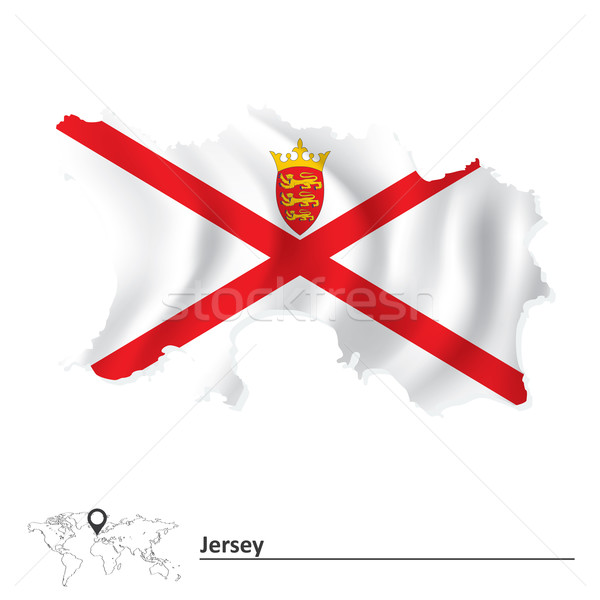 Map of Jersey with flag Stock photo © ojal