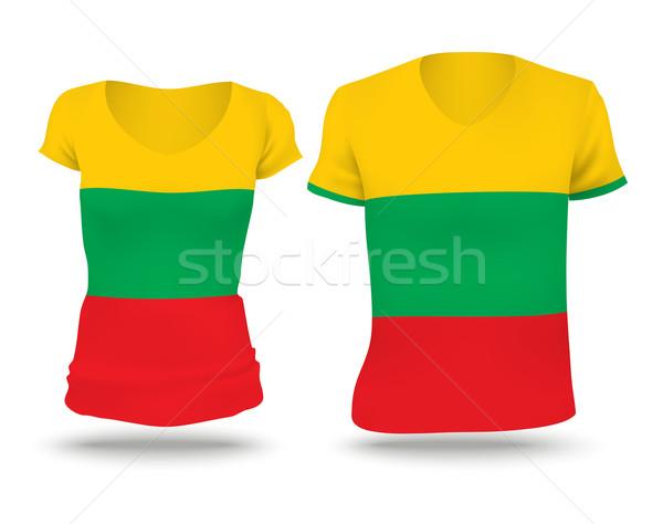 Vlag shirt ontwerp Litouwen vrouw man Stockfoto © ojal