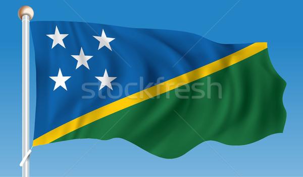 Vlag Solomon Eilanden textuur ontwerp silhouet eiland Stockfoto © ojal