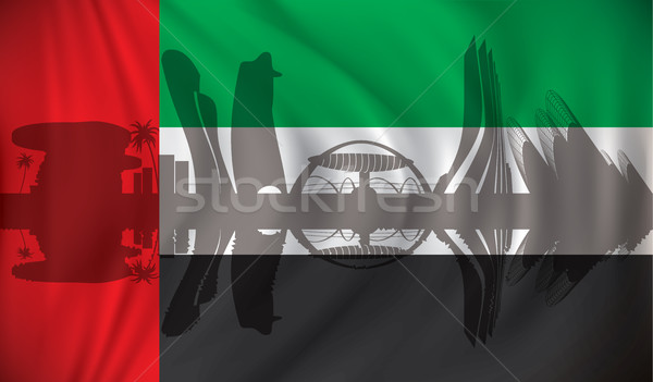 Flag of United Arab Emirates with Abu Dhabi skyline Stock photo © ojal