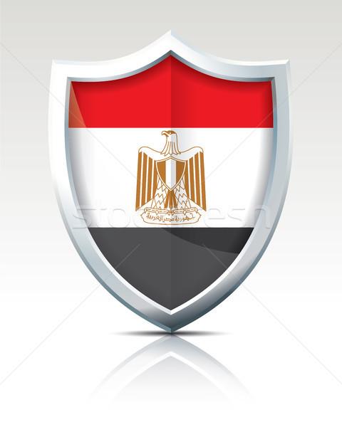 Tarcza banderą Egipt miasta streszczenie internetowych Zdjęcia stock © ojal