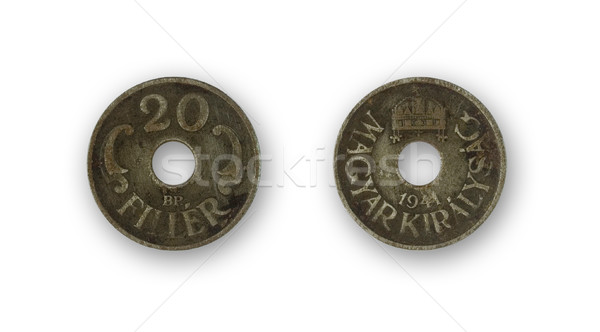 Stock photo: isolated two sides of hungarian twenty filler from 1941 - circul