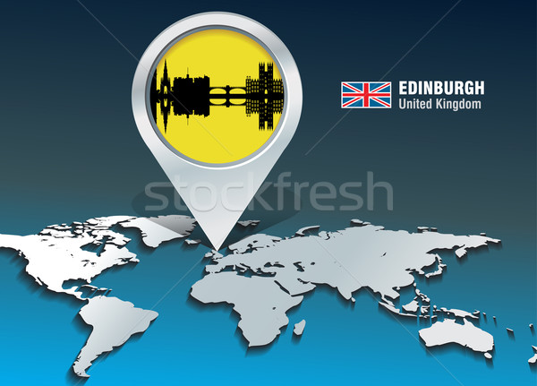 Térkép tő Edinburgh sziluett épület város Stock fotó © ojal