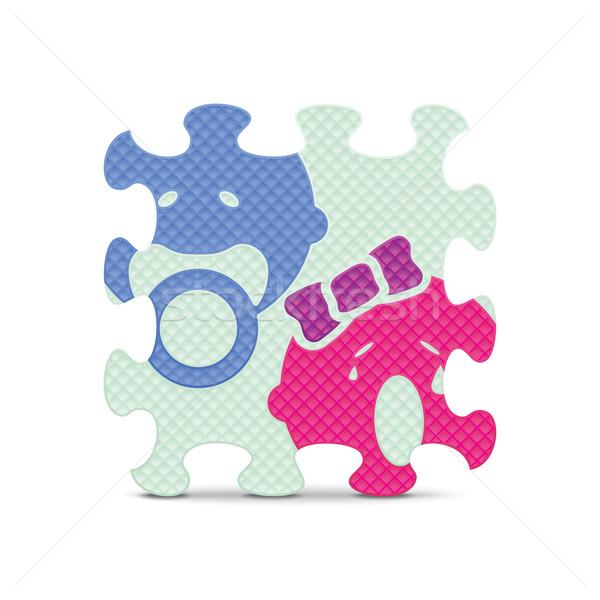 Vecteur bébé signe alphabet puzzle fleurs Photo stock © ojal