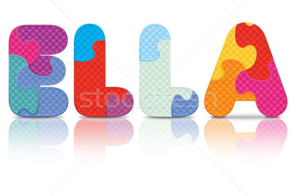 ストックフォト: ベクトル · 書かれた · アルファベット · パズル · 愛 · 背景