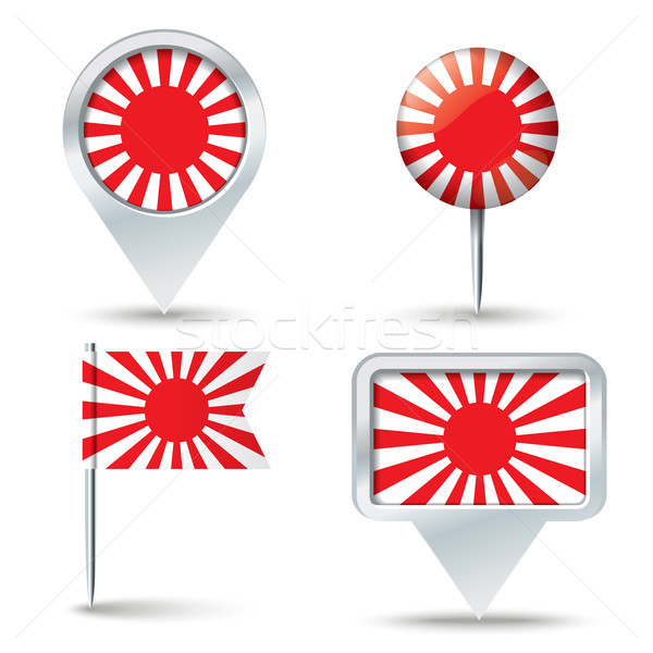 Map pins with Japanese War flag Stock photo © ojal