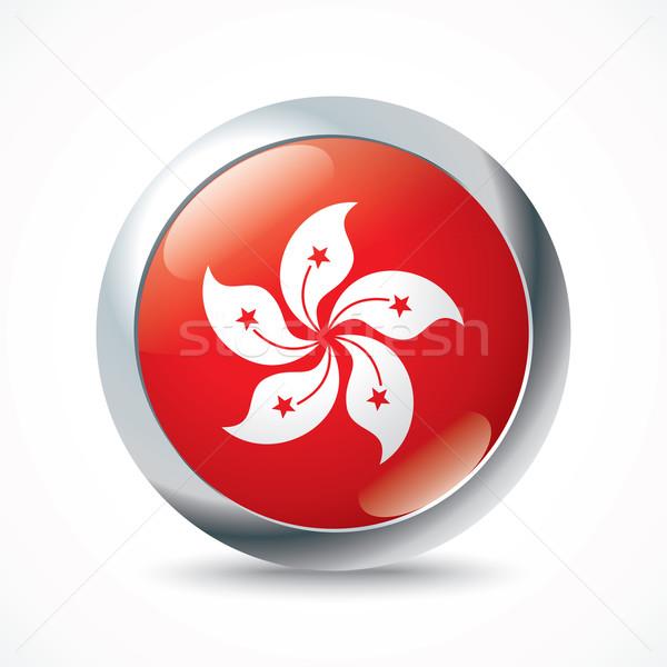 Hong Kong flag button Stock photo © ojal