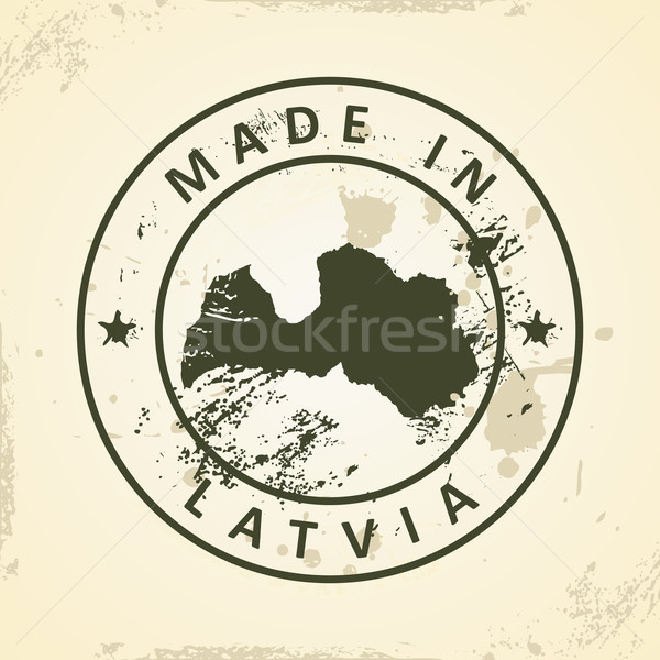 Stamp with map of Latvia Stock photo © ojal