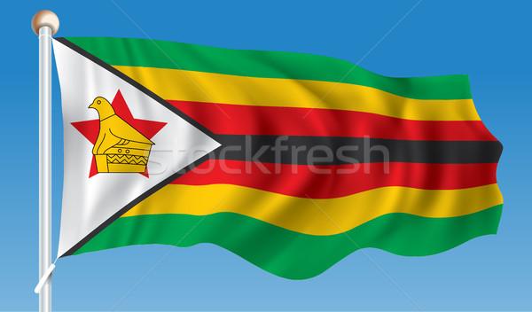 Zászló Zimbabwe felirat madár zöld Afrika Stock fotó © ojal