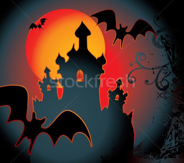 Halloween voll orange Mond Nacht schreien Stock foto © ojal