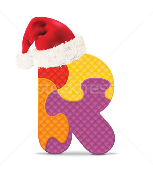 R betű írott ábécé puzzle karácsony kalap Stock fotó © ojal