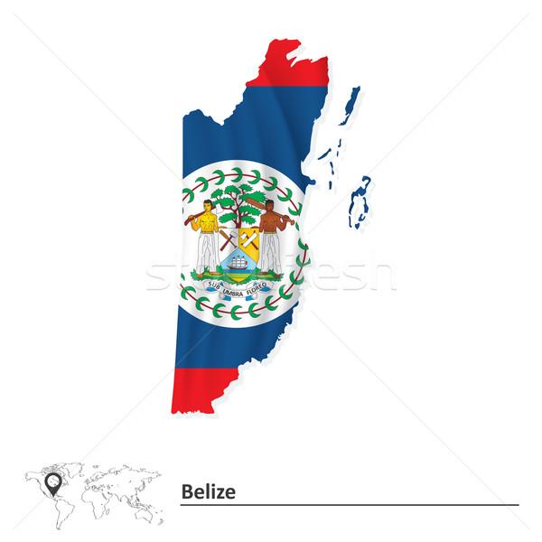 Stock fotó: Térkép · Belize · zászló · világ · Föld · művészet