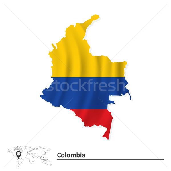 Térkép Colombia zászló háttér kék piros Stock fotó © ojal