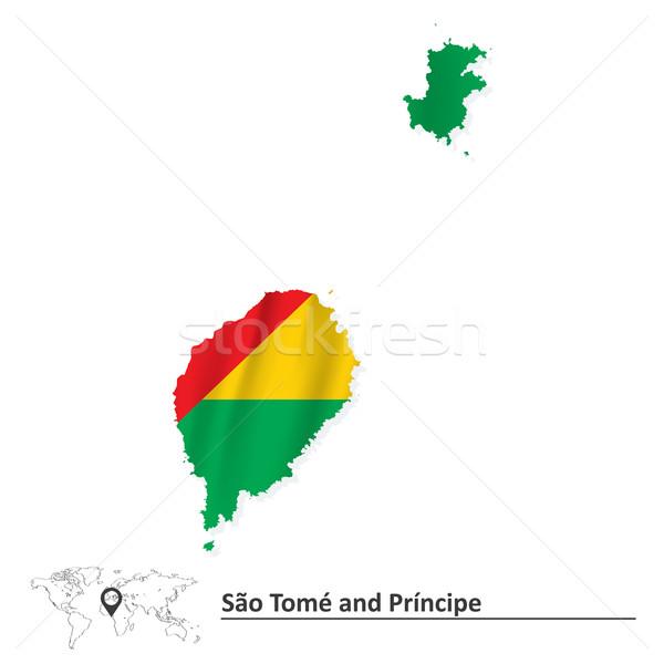 Map of Sao Tome and Principe with flag Stock photo © ojal