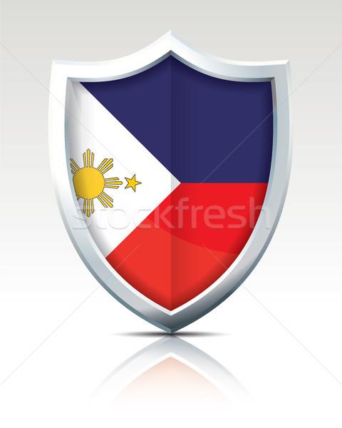Stok fotoğraf: Kalkan · bayrak · Filipinler · doku · dünya · Asya