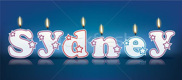 Sydney geschreven brandend kaarsen licht verjaardag Stockfoto © ojal