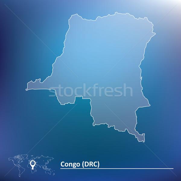 Térkép demokratikus köztársaság Kongó utazás csillag Stock fotó © ojal
