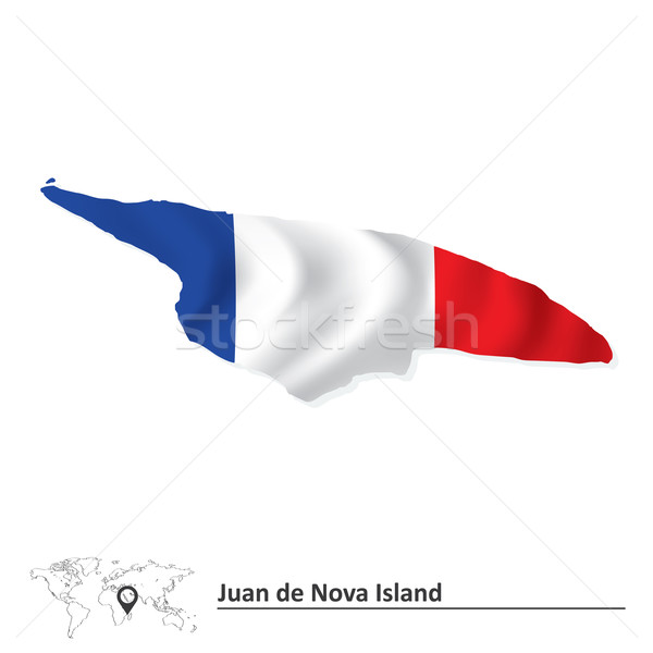 Map of Juan de Nova Island with flag Stock photo © ojal