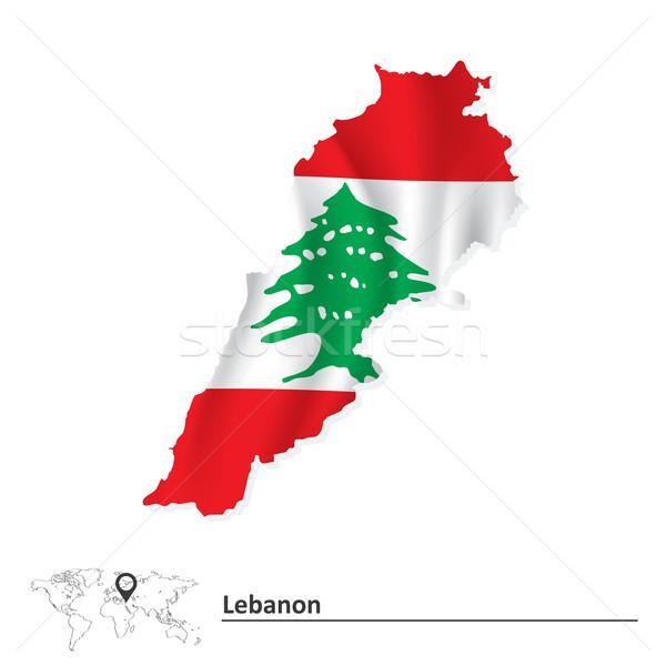 Térkép Libanon zászló tenger zöld utazás Stock fotó © ojal