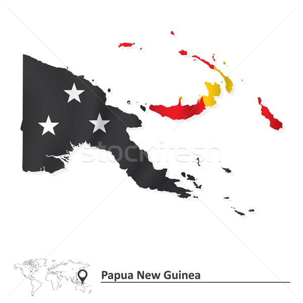 карта Папуа-Новая Гвинея флаг текстуры дизайна Мир Сток-фото © ojal