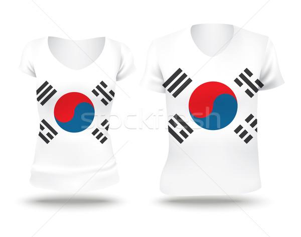 Bandeira camisas projeto Coréia do Sul mulher homem Foto stock © ojal