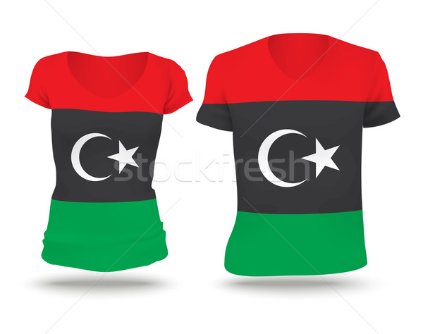 Banderą shirt projektu Libia kobieta człowiek Zdjęcia stock © ojal