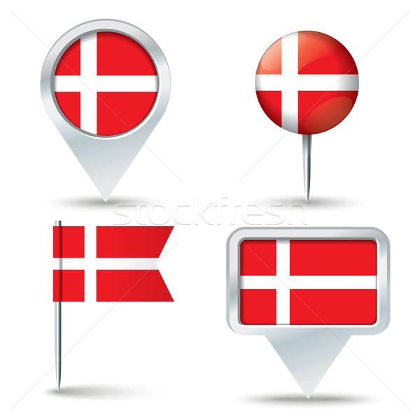 Harita bayrak Danimarka iş yol beyaz Stok fotoğraf © ojal