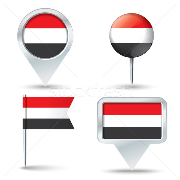 Map pins with flag of Yemen Stock photo © ojal