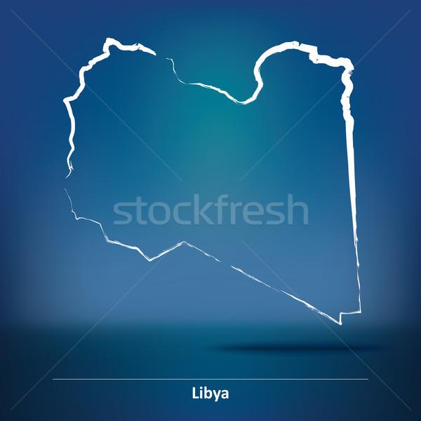 Gryzmolić Pokaż Libia księżyc niebieski czerwony Zdjęcia stock © ojal