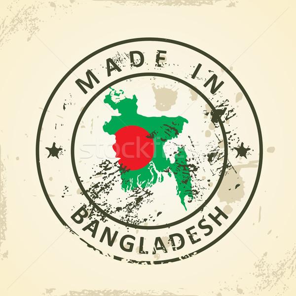 Bélyeg térkép zászló Banglades grunge utazás Stock fotó © ojal
