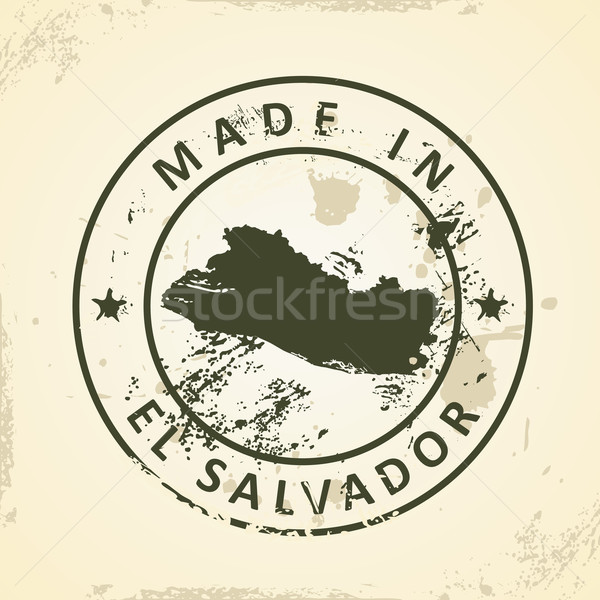 Stamp with map of El Salvador Stock photo © ojal