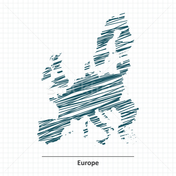 Doodle sketch Europa mappa mare terra Foto d'archivio © ojal