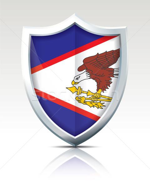 Escudo bandeira Samoa Americana mapa tecnologia arte Foto stock © ojal